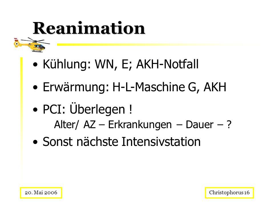 Christophorus 1620. Mai 2006 Reanimation Kühlung: WN, E; AKH-Notfall Erwärmung: H-L-Maschine G, AKH PCI: Überlegen ! Alter/ AZ – Erkrankungen – Dauer