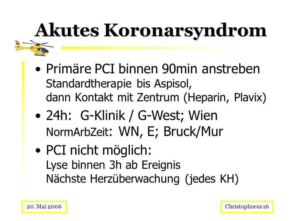 Christophorus 1620. Mai 2006 Akutes Koronarsyndrom Primäre PCI binnen 90min anstreben Standardtherapie bis Aspisol, dann Kontakt mit Zentrum (Heparin,