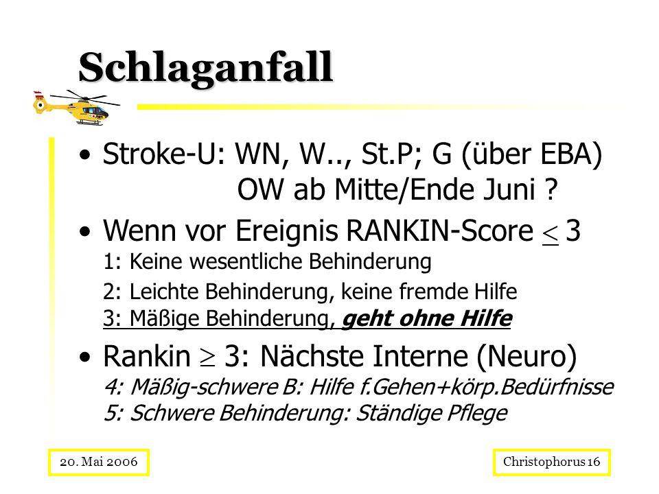 Christophorus 1620. Mai 2006 Schlaganfall Stroke-U: WN, W.., St.P; G (über EBA) OW ab Mitte/Ende Juni ? Wenn vor Ereignis RANKIN-Score 3 1: Keine wese