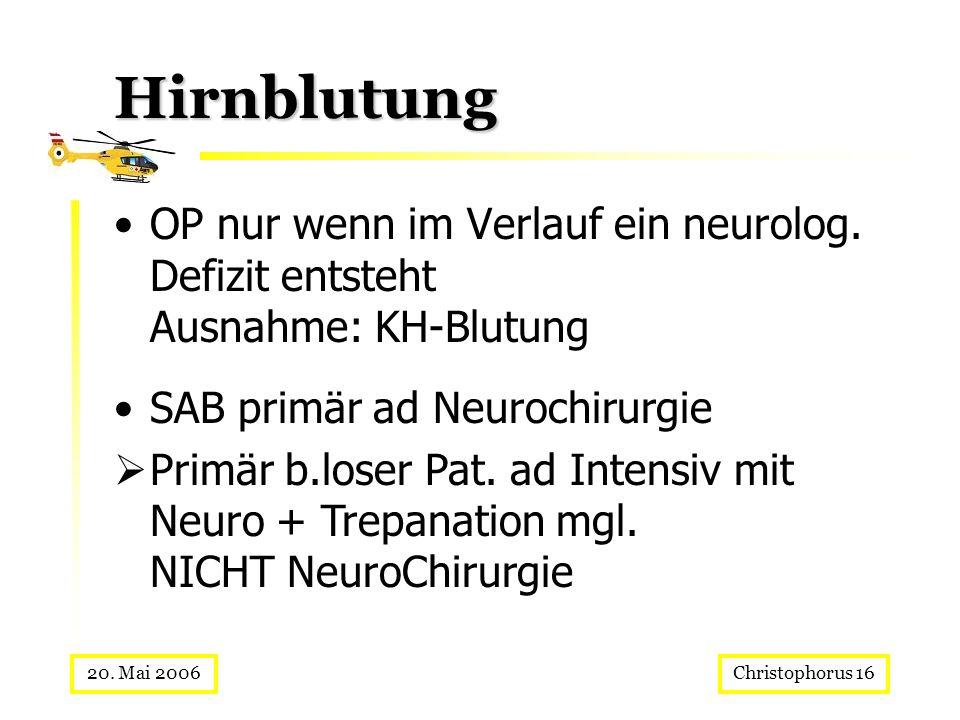 Christophorus 1620. Mai 2006 Hirnblutung OP nur wenn im Verlauf ein neurolog. Defizit entsteht Ausnahme: KH-Blutung SAB primär ad Neurochirurgie Primä