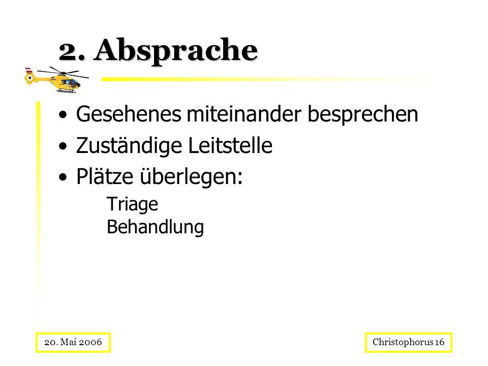 Christophorus 1620. Mai 2006 2. Absprache Gesehenes miteinander besprechen Zuständige Leitstelle Plätze überlegen: Triage Behandlung