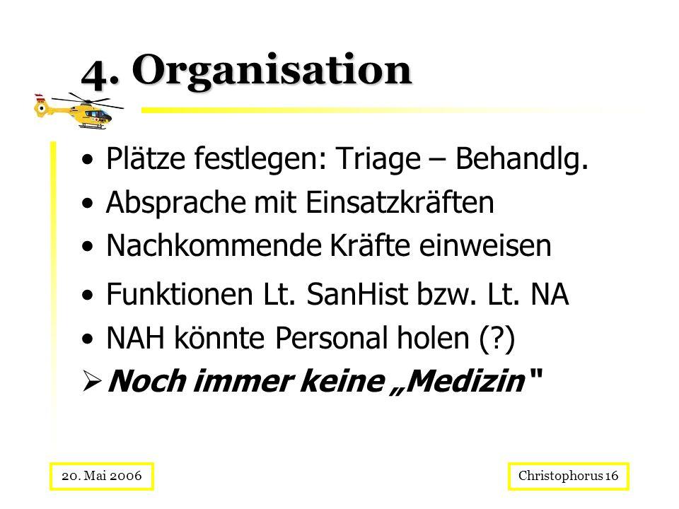 Christophorus 1620. Mai 2006 4. Organisation Plätze festlegen: Triage – Behandlg. Absprache mit Einsatzkräften Nachkommende Kräfte einweisen Funktione