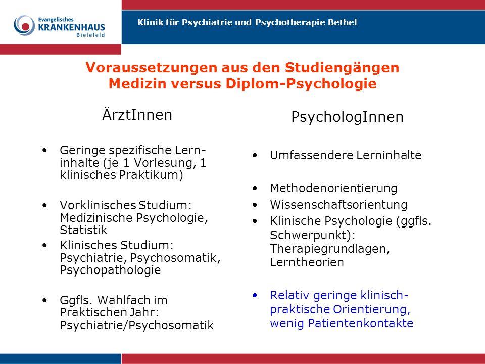 Klinik für Psychiatrie und Psychotherapie Bethel Voraussetzungen aus den Studiengängen Medizin versus Diplom-Psychologie ÄrztInnen Geringe spezifische
