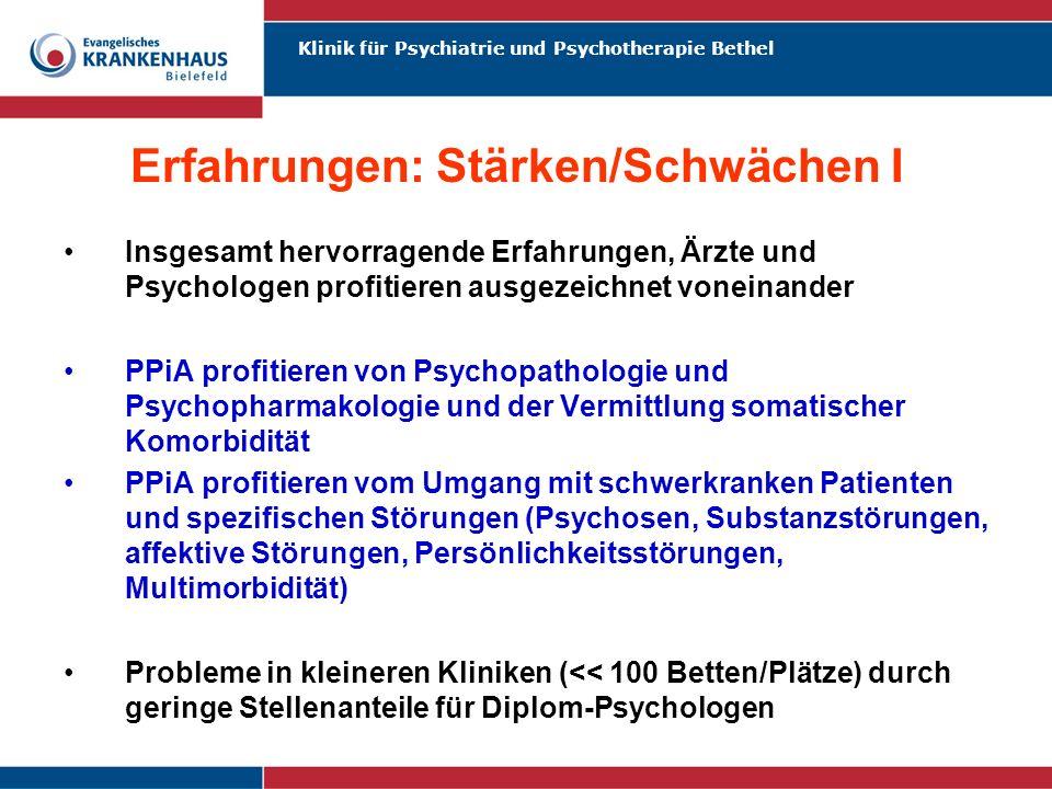 Klinik für Psychiatrie und Psychotherapie Bethel Erfahrungen: Stärken/Schwächen I Insgesamt hervorragende Erfahrungen, Ärzte und Psychologen profitier