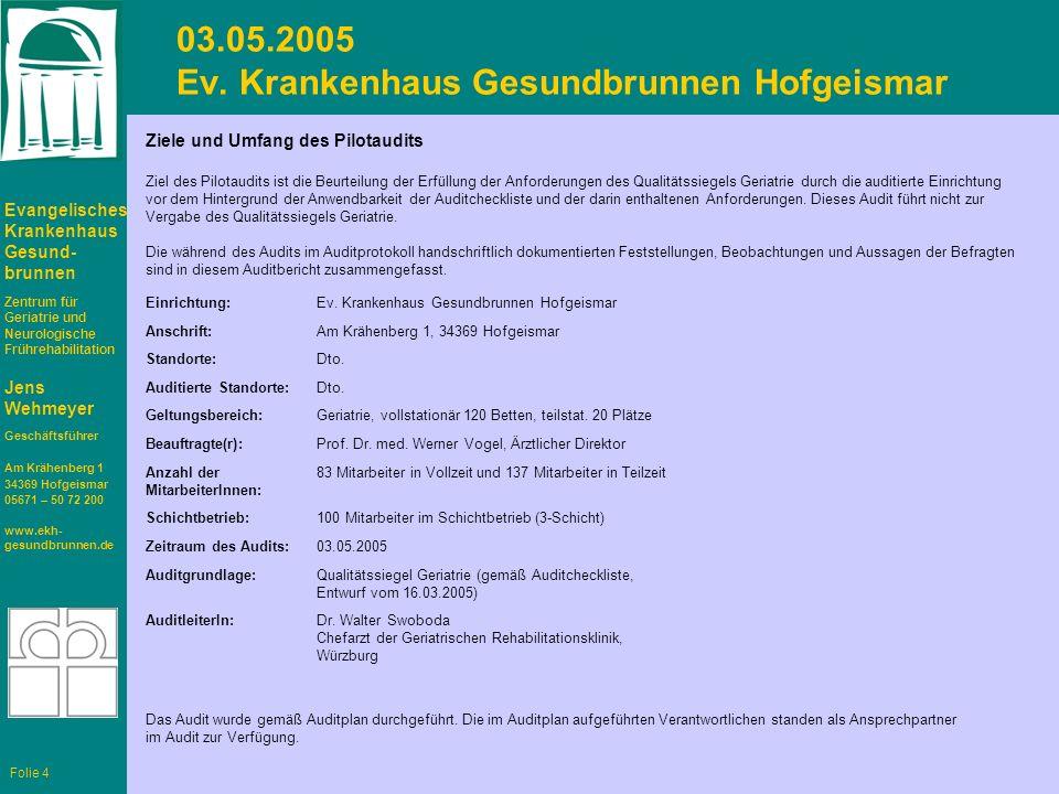 Evangelisches Krankenhaus Gesund- brunnen Zentrum für Geriatrie und Neurologische Frührehabilitation Jens Wehmeyer Geschäftsführer Am Krähenberg 1 34369 Hofgeismar 05671 – 50 72 200 www.ekh- gesundbrunnen.de Folie 4 03.05.2005 Ev.