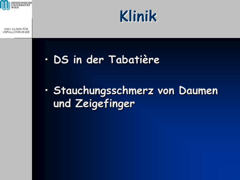 MEDICAL UNIVERSITY, VIENNA, AUSTRIA UNIV.KLINIK FÜR UNFALLCHIRURGIE Klinik DS in der Tabatière Stauchungsschmerz von Daumen und Zeigefinger DS in der