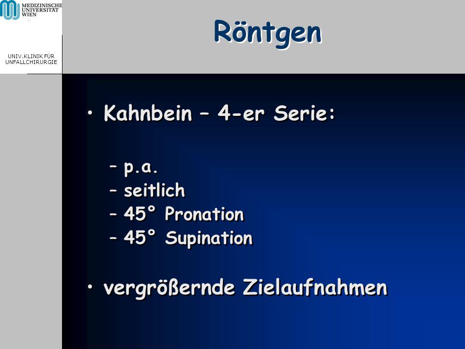 MEDICAL UNIVERSITY, VIENNA, AUSTRIA UNIV.KLINIK FÜR UNFALLCHIRURGIE Röntgen Kahnbein – 4-er Serie: –p.a. –seitlich –45° Pronation –45° Supination verg