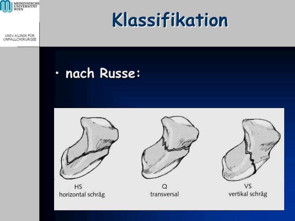 MEDICAL UNIVERSITY, VIENNA, AUSTRIA UNIV.KLINIK FÜR UNFALLCHIRURGIE Klassifikation nach Russe: