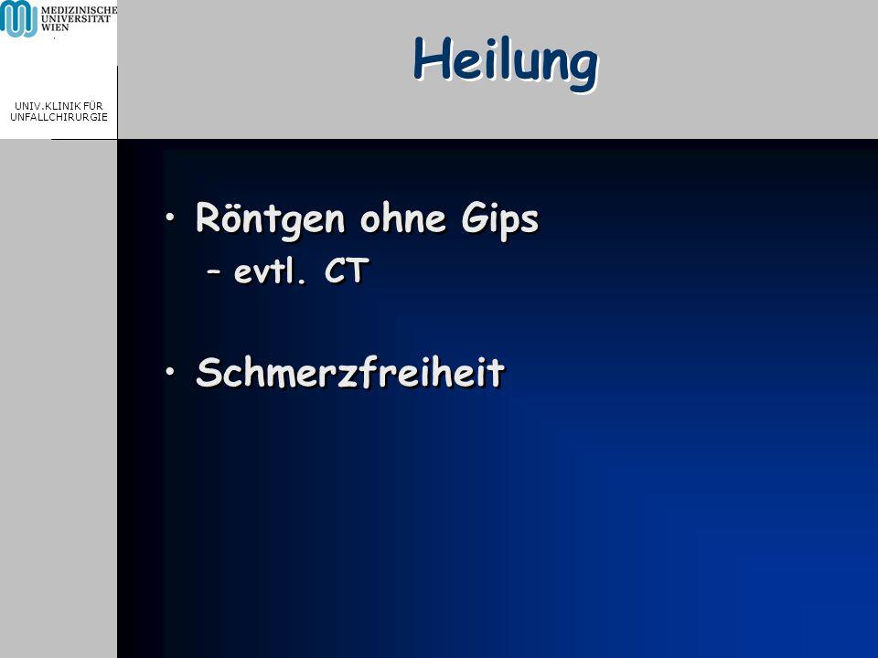 MEDICAL UNIVERSITY, VIENNA, AUSTRIA UNIV.KLINIK FÜR UNFALLCHIRURGIE Heilung Röntgen ohne Gips –evtl.