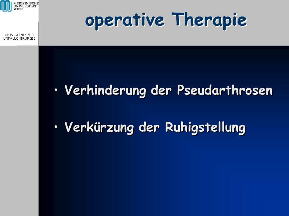 MEDICAL UNIVERSITY, VIENNA, AUSTRIA UNIV.KLINIK FÜR UNFALLCHIRURGIE operative Therapie Verhinderung der Pseudarthrosen Verkürzung der Ruhigstellung Ve