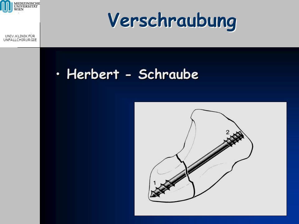 MEDICAL UNIVERSITY, VIENNA, AUSTRIA UNIV.KLINIK FÜR UNFALLCHIRURGIE Verschraubung Herbert - Schraube