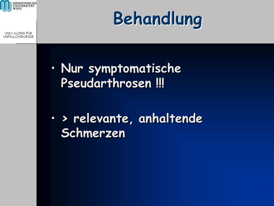MEDICAL UNIVERSITY, VIENNA, AUSTRIA UNIV.KLINIK FÜR UNFALLCHIRURGIE Behandlung Nur symptomatische Pseudarthrosen !!! > relevante, anhaltende Schmerzen
