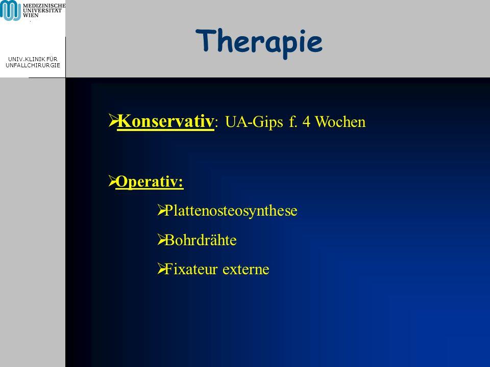 MEDICAL UNIVERSITY, VIENNA, AUSTRIA UNIV.KLINIK FÜR UNFALLCHIRURGIE Therapie Konservativ : UA-Gips f. 4 Wochen Operativ: Plattenosteosynthese Bohrdräh