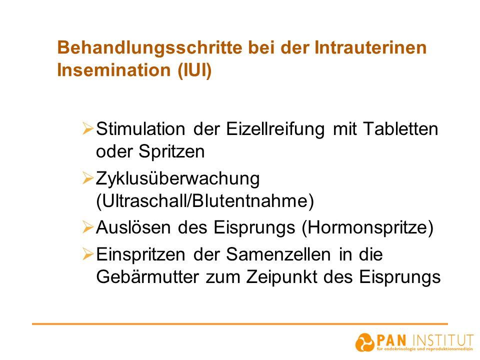Behandlungsschritte bei der Intrauterinen Insemination (IUI) Stimulation der Eizellreifung mit Tabletten oder Spritzen Zyklusüberwachung (Ultraschall/