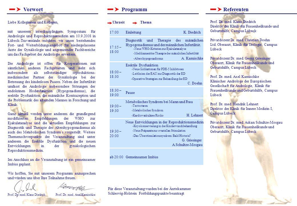 VorwortProgrammReferenten Für diese Veranstaltung wurden bei der Ärztekammer Schleswig-Holstein Fortbildungspunkte beantragt Prof.