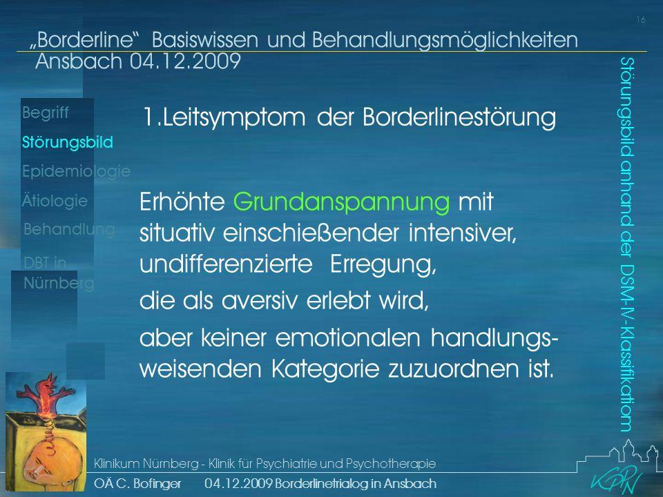 Begriff Epidemiologie Ätiologie 16 Störungsbild Borderline Basiswissen und Behandlungsmöglichkeiten Ansbach 04.12.2009 Klinikum Nürnberg - Klinik für Psychiatrie und Psychotherapie OÄ C.