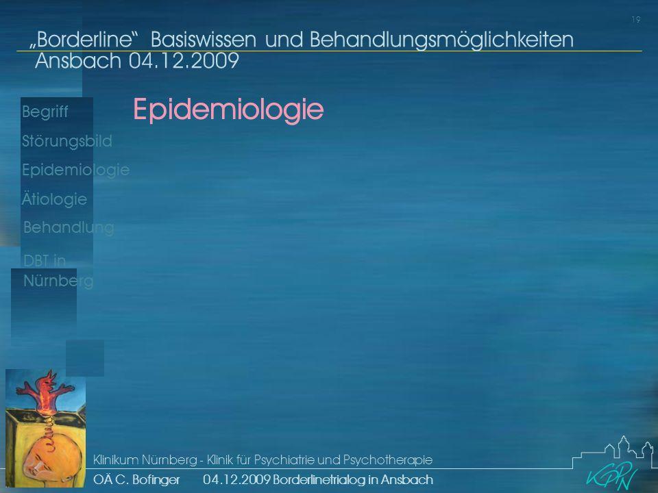 Begriff Epidemiologie Ätiologie 19 Störungsbild Borderline Basiswissen und Behandlungsmöglichkeiten Ansbach 04.12.2009 Klinikum Nürnberg - Klinik für Psychiatrie und Psychotherapie OÄ C.