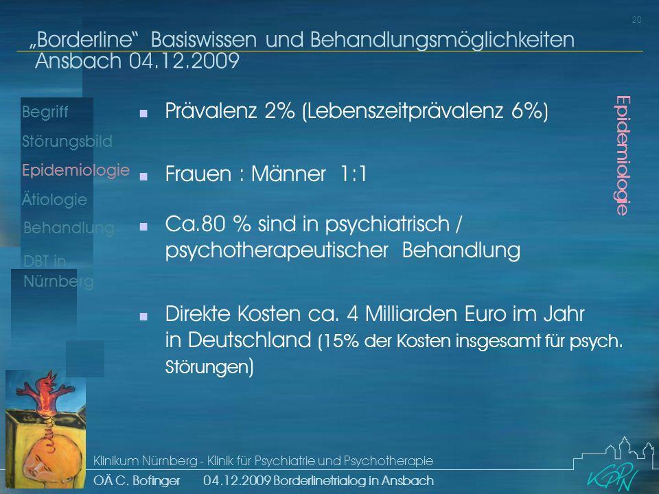 Begriff Epidemiologie Ätiologie 20 Störungsbild Borderline Basiswissen und Behandlungsmöglichkeiten Ansbach 04.12.2009 Klinikum Nürnberg - Klinik für Psychiatrie und Psychotherapie OÄ C.