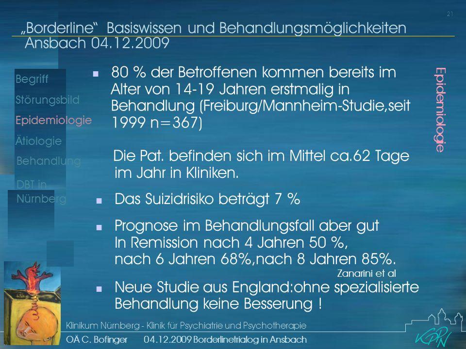 Begriff Epidemiologie Ätiologie 21 Störungsbild Borderline Basiswissen und Behandlungsmöglichkeiten Ansbach 04.12.2009 Klinikum Nürnberg - Klinik für Psychiatrie und Psychotherapie OÄ C.