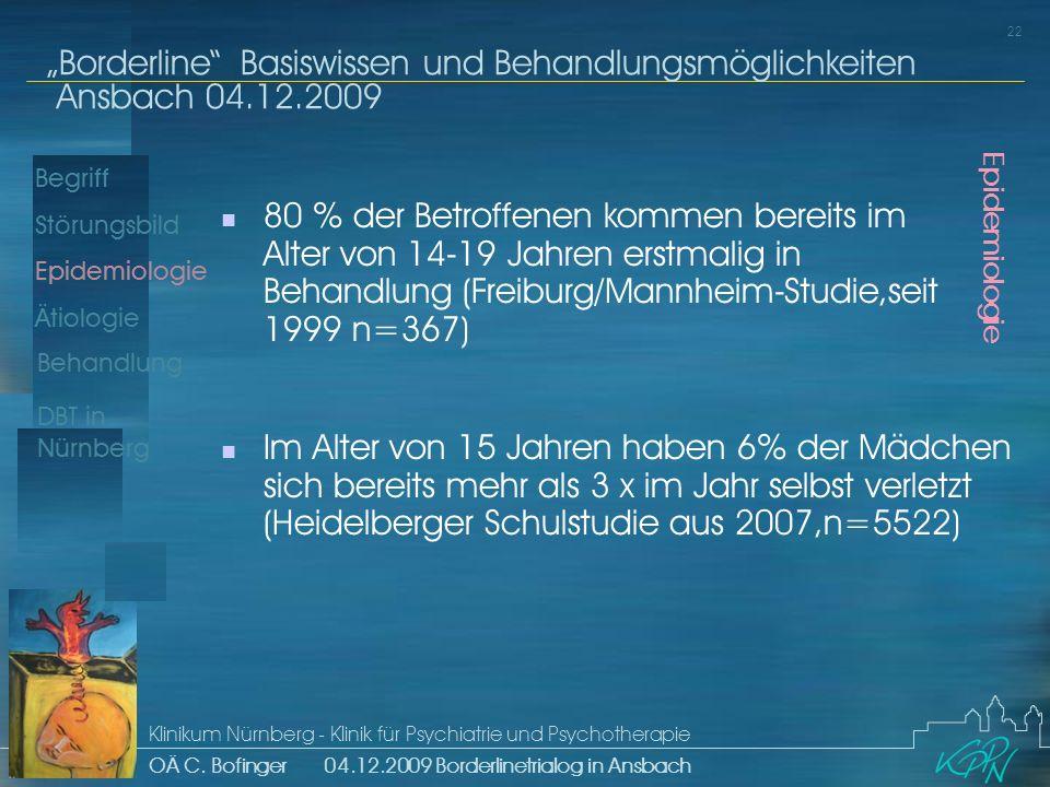 Begriff Epidemiologie Ätiologie 22 Störungsbild Borderline Basiswissen und Behandlungsmöglichkeiten Ansbach 04.12.2009 Klinikum Nürnberg - Klinik für Psychiatrie und Psychotherapie OÄ C.
