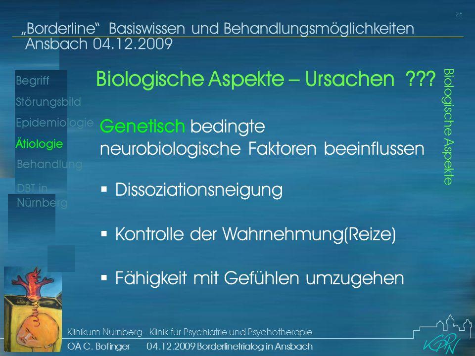 Begriff Epidemiologie Ätiologie 25 Störungsbild Borderline Basiswissen und Behandlungsmöglichkeiten Ansbach 04.12.2009 Klinikum Nürnberg - Klinik für Psychiatrie und Psychotherapie OÄ C.