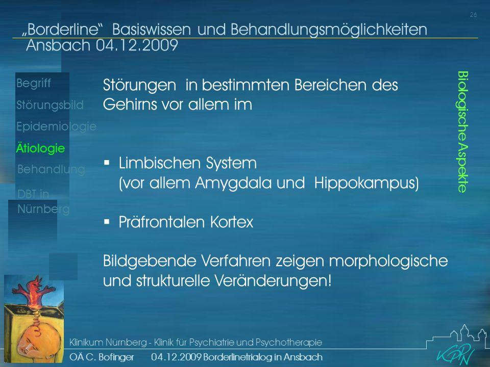 Begriff Epidemiologie Ätiologie 26 Störungsbild Borderline Basiswissen und Behandlungsmöglichkeiten Ansbach 04.12.2009 Klinikum Nürnberg - Klinik für Psychiatrie und Psychotherapie OÄ C.
