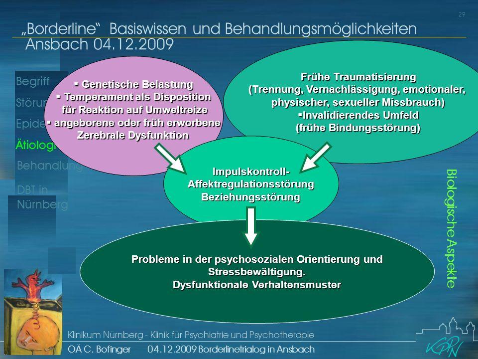 Begriff Epidemiologie Ätiologie 29 Störungsbild Borderline Basiswissen und Behandlungsmöglichkeiten Ansbach 04.12.2009 Klinikum Nürnberg - Klinik für Psychiatrie und Psychotherapie OÄ C.