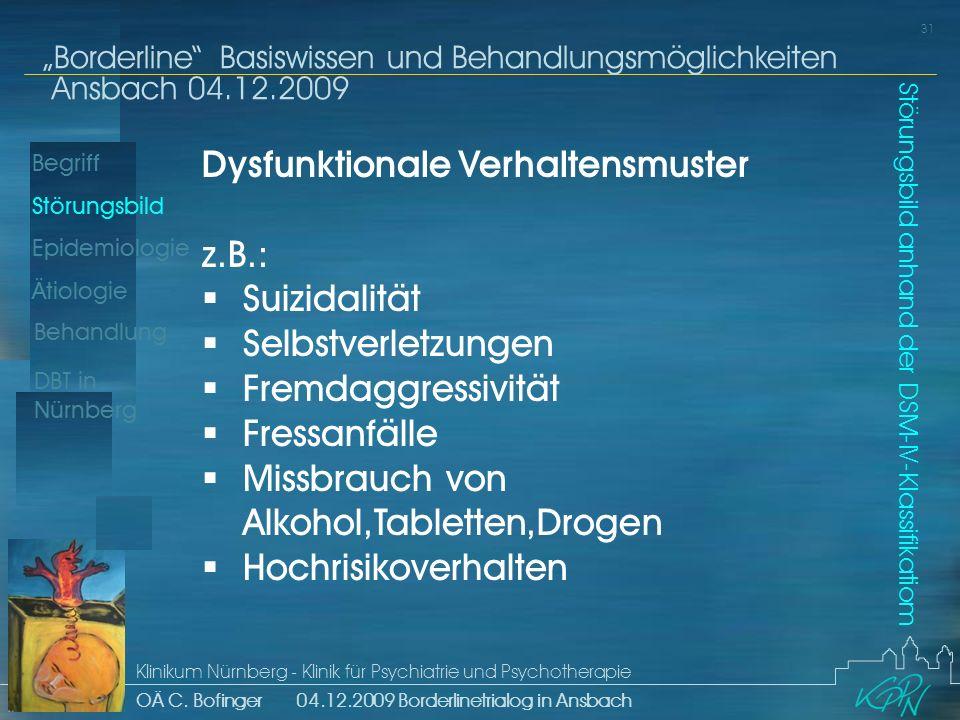 Begriff Epidemiologie Ätiologie 31 Störungsbild Borderline Basiswissen und Behandlungsmöglichkeiten Ansbach 04.12.2009 Klinikum Nürnberg - Klinik für Psychiatrie und Psychotherapie OÄ C.