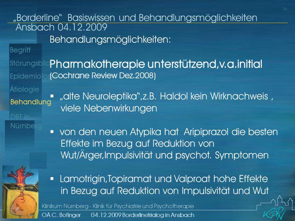 Begriff Epidemiologie Ätiologie 34 Störungsbild Borderline Basiswissen und Behandlungsmöglichkeiten Ansbach 04.12.2009 Klinikum Nürnberg - Klinik für Psychiatrie und Psychotherapie OÄ C.