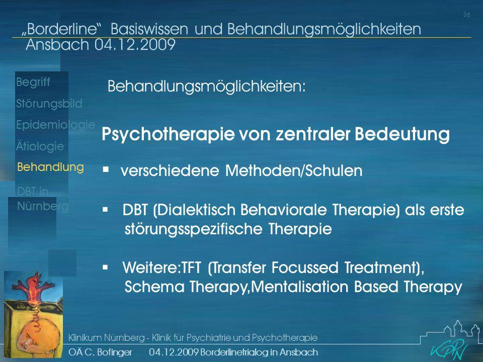 Begriff Epidemiologie Ätiologie 36 Störungsbild Borderline Basiswissen und Behandlungsmöglichkeiten Ansbach 04.12.2009 Klinikum Nürnberg - Klinik für Psychiatrie und Psychotherapie OÄ C.