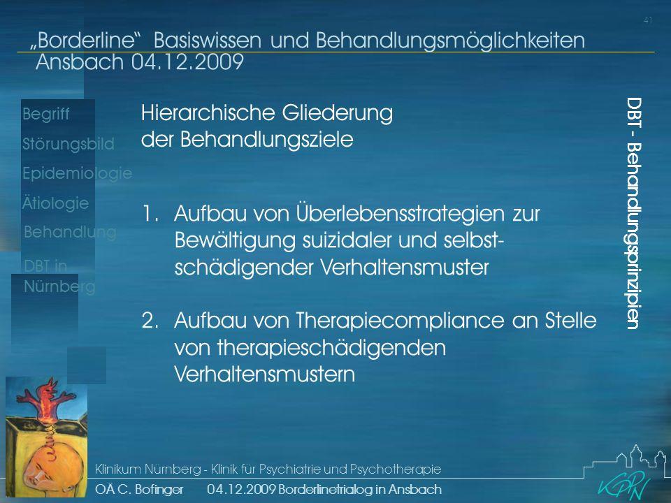 Begriff Epidemiologie Ätiologie 41 Störungsbild Borderline Basiswissen und Behandlungsmöglichkeiten Ansbach 04.12.2009 Klinikum Nürnberg - Klinik für Psychiatrie und Psychotherapie OÄ C.