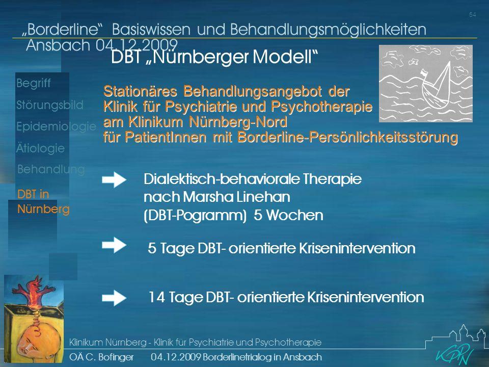Begriff Epidemiologie Ätiologie 54 Störungsbild Borderline Basiswissen und Behandlungsmöglichkeiten Ansbach 04.12.2009 Klinikum Nürnberg - Klinik für Psychiatrie und Psychotherapie OÄ C.