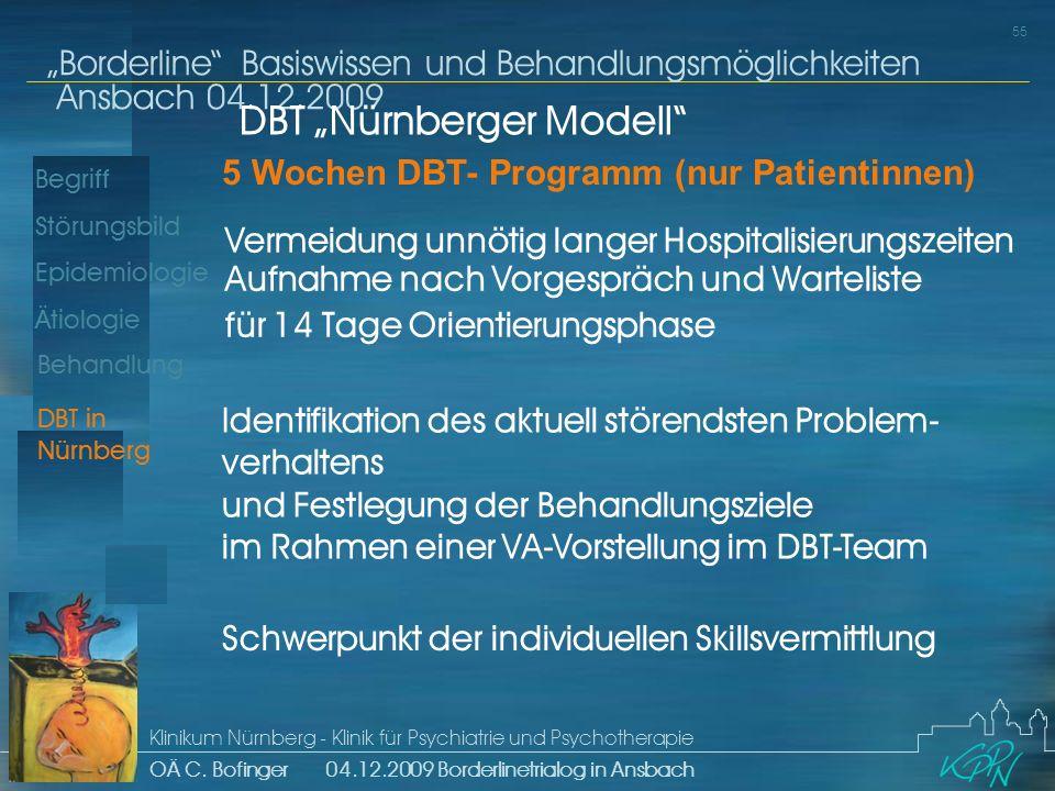 Begriff Epidemiologie Ätiologie 55 Störungsbild Borderline Basiswissen und Behandlungsmöglichkeiten Ansbach 04.12.2009 Klinikum Nürnberg - Klinik für Psychiatrie und Psychotherapie OÄ C.