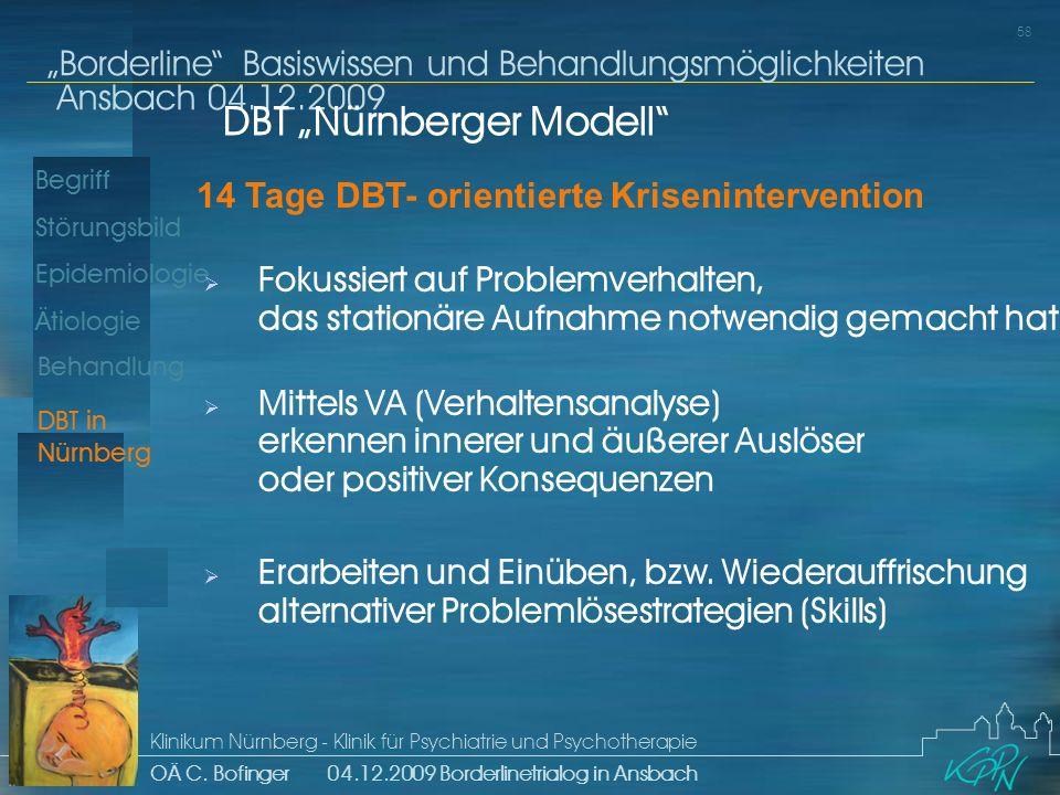 Begriff Epidemiologie Ätiologie 58 Störungsbild Borderline Basiswissen und Behandlungsmöglichkeiten Ansbach 04.12.2009 Klinikum Nürnberg - Klinik für Psychiatrie und Psychotherapie OÄ C.