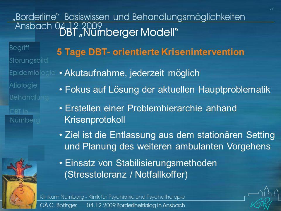 Begriff Epidemiologie Ätiologie 59 Störungsbild Borderline Basiswissen und Behandlungsmöglichkeiten Ansbach 04.12.2009 Klinikum Nürnberg - Klinik für Psychiatrie und Psychotherapie OÄ C.