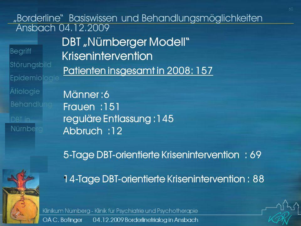 Begriff Epidemiologie Ätiologie 60 Störungsbild Borderline Basiswissen und Behandlungsmöglichkeiten Ansbach 04.12.2009 Klinikum Nürnberg - Klinik für Psychiatrie und Psychotherapie OÄ C.
