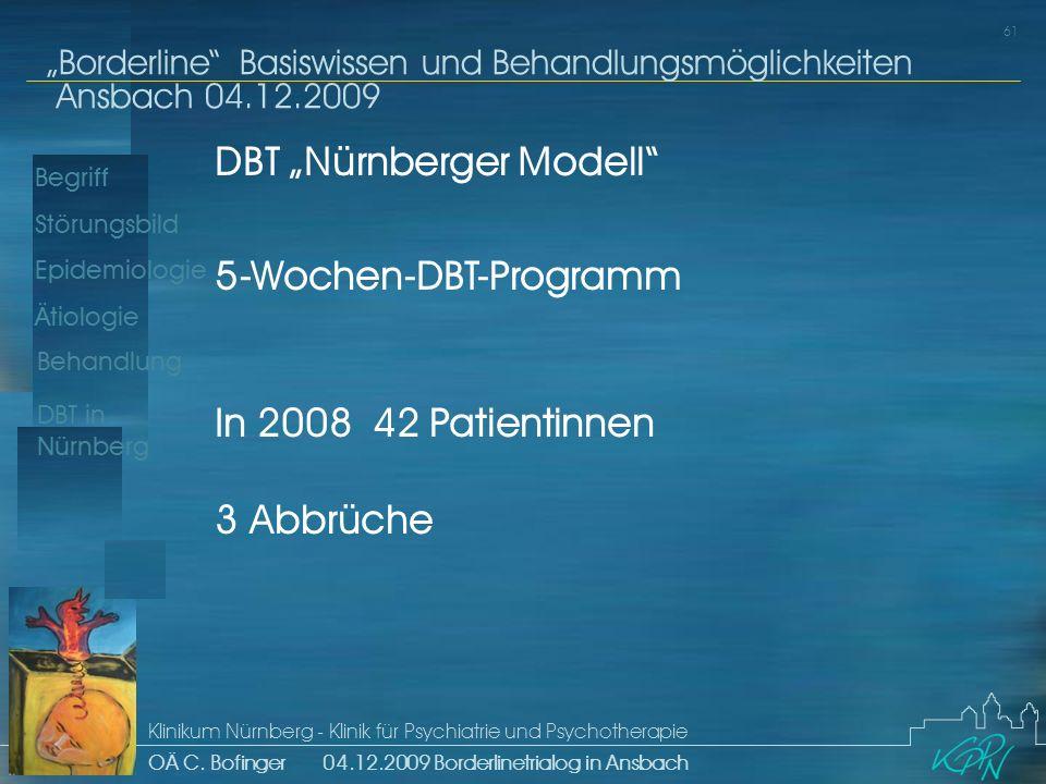 Begriff Epidemiologie Ätiologie 61 Störungsbild Borderline Basiswissen und Behandlungsmöglichkeiten Ansbach 04.12.2009 Klinikum Nürnberg - Klinik für Psychiatrie und Psychotherapie OÄ C.