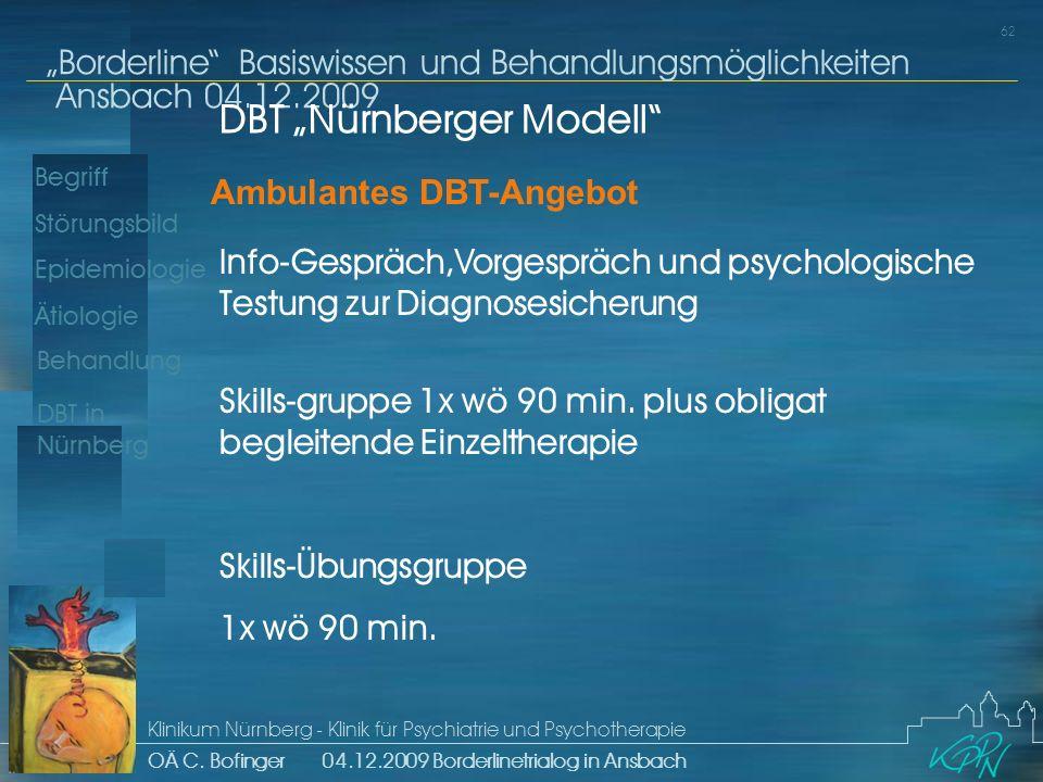 Begriff Epidemiologie Ätiologie 62 Störungsbild Borderline Basiswissen und Behandlungsmöglichkeiten Ansbach 04.12.2009 Klinikum Nürnberg - Klinik für Psychiatrie und Psychotherapie OÄ C.