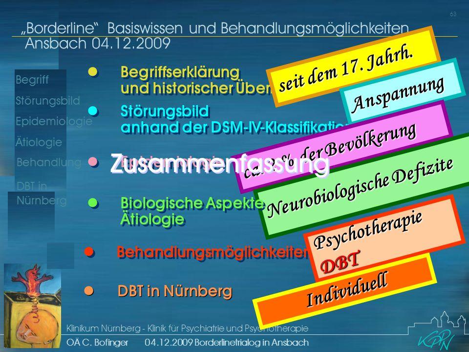 Begriff Epidemiologie Ätiologie 63 Störungsbild Borderline Basiswissen und Behandlungsmöglichkeiten Ansbach 04.12.2009 Klinikum Nürnberg - Klinik für Psychiatrie und Psychotherapie OÄ C.