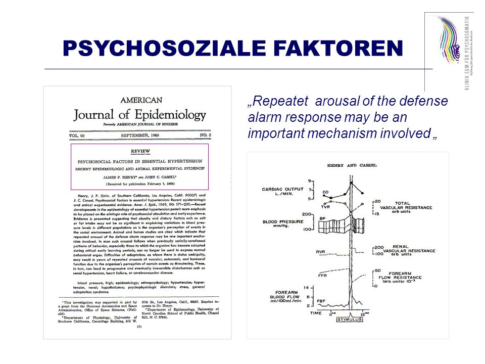 Repeatet arousal of the defense alarm response may be an important mechanism involved PSYCHOSOZIALE FAKTOREN