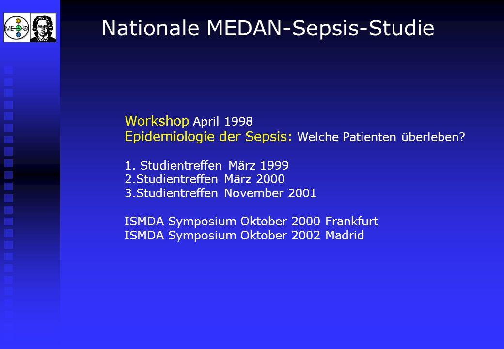 Nationale MEDAN-Sepsis-Studie Workshop April 1998 Epidemiologie der Sepsis: Welche Patienten überleben? 1. Studientreffen März 1999 2.Studientreffen M