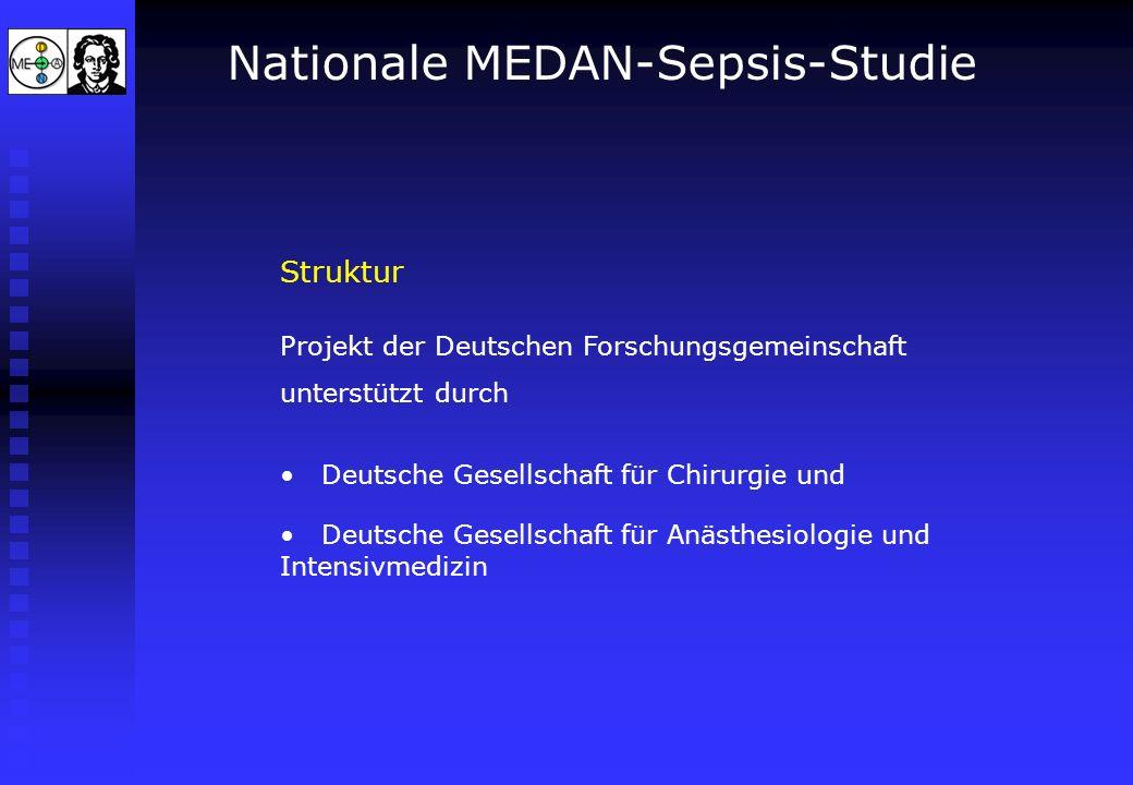 Nationale MEDAN-Sepsis-Studie Struktur Projekt der Deutschen Forschungsgemeinschaft unterstützt durch Deutsche Gesellschaft für Chirurgie und Deutsche