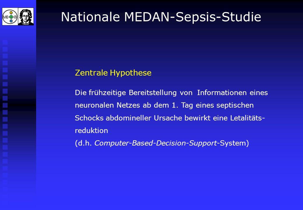 Nationale MEDAN-Sepsis-Studie Zentrale Hypothese Die frühzeitige Bereitstellung von Informationen eines neuronalen Netzes ab dem 1. Tag eines septisch