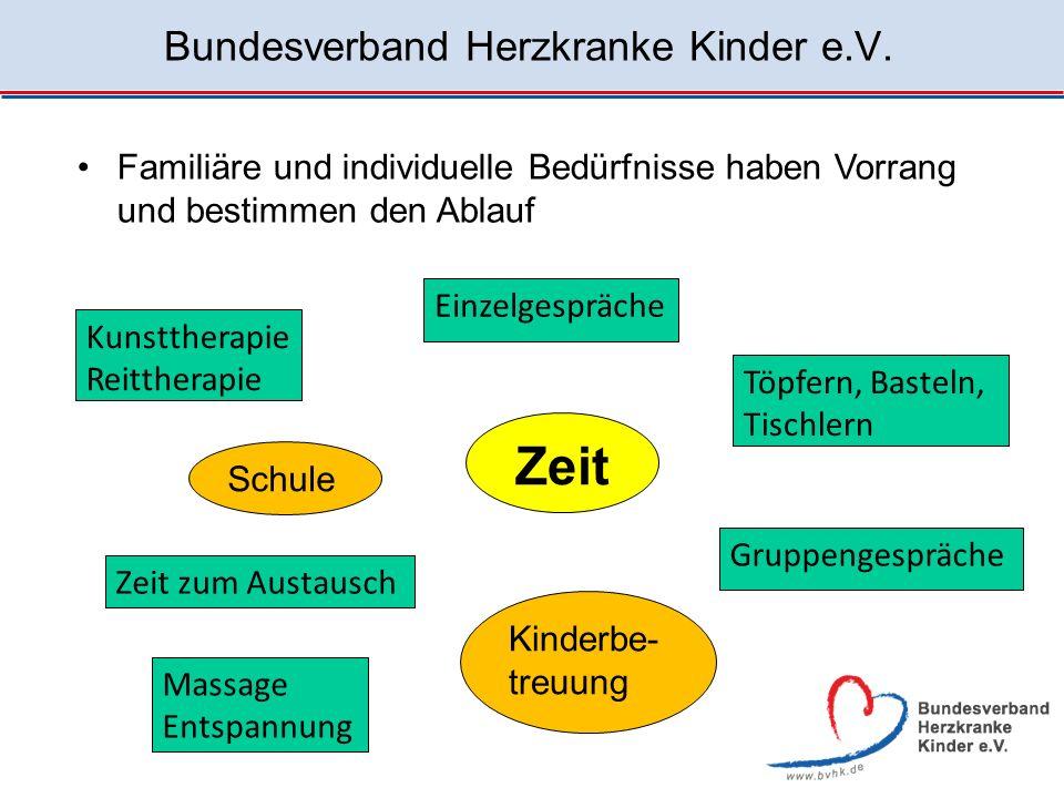 Bundesverband Herzkranke Kinder e.V. Familiäre und individuelle Bedürfnisse haben Vorrang und bestimmen den Ablauf Zeit Gruppengespräche Töpfern, Bast