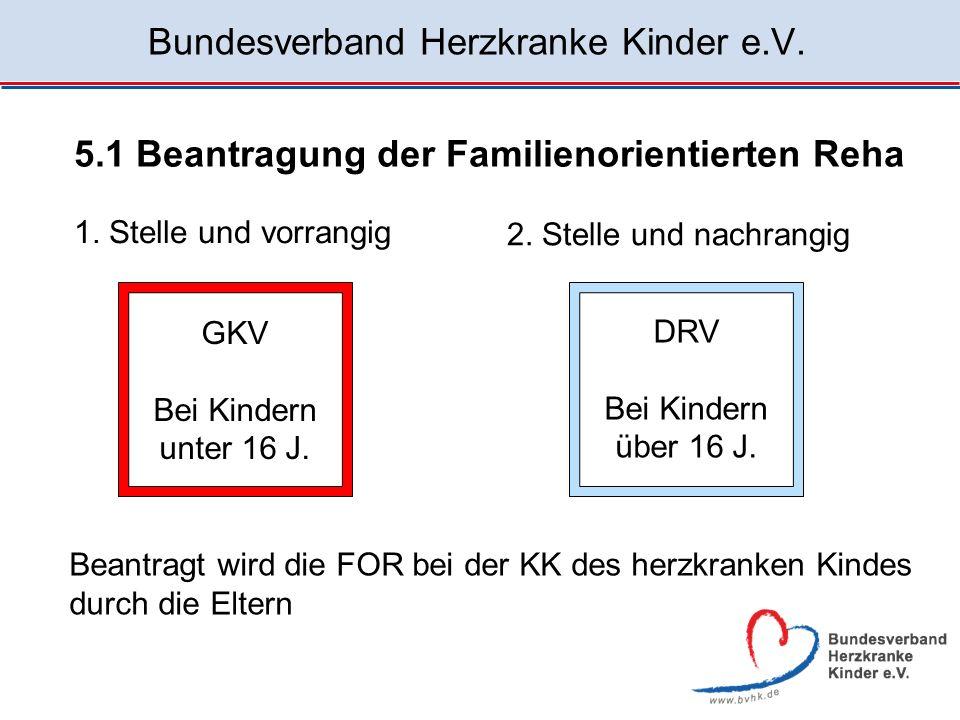 Bundesverband Herzkranke Kinder e.V. 5.1 Beantragung der Familienorientierten Reha 1. Stelle und vorrangig GKV Bei Kindern unter 16 J. 2. Stelle und n