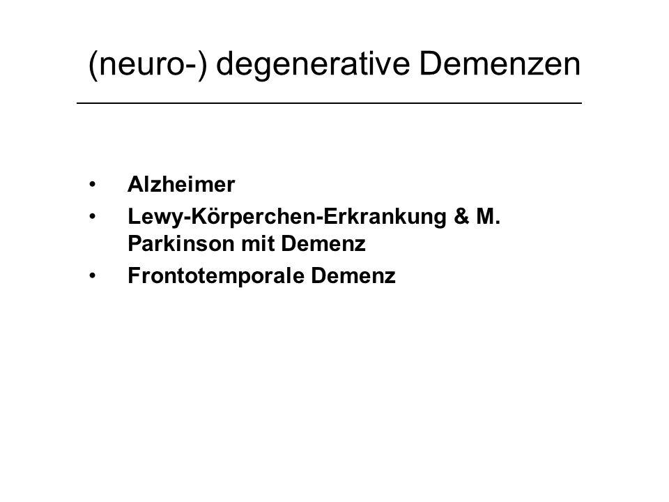 Morbus Alzheimer Erstbeschreibung Alois Alzheimer Neuerkrankungen in Deutschland: 120.000/Jahr (Neuzulassungen VW 2005: 75.956) Klinik: anfänglich Kurzzeitgedächtnis-, im Verlauf Langzeitgedächtnisstörung Begleitend: Persönlichkeitsveränderung, Angst, Halluzinationen, Depression Pathologie: Extrazellüläre Plaques, intrazelluläre Fibrillen, Neurodegeneration Therapie: - Acetylcholinesterase-Hemmer: Donepezil, Galantamin und Rivastigmin - NMDA-Rezeptorantagonisten: Memantin Auguste Deter