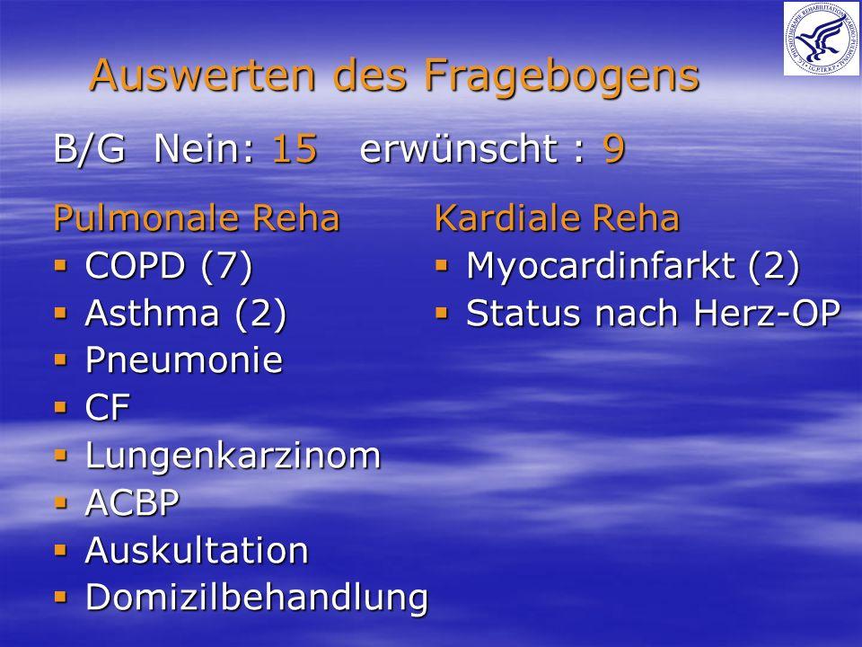 B/G Nein: 15 erwünscht : 9 Auswerten des Fragebogens Pulmonale Reha COPD (7) COPD (7) Asthma (2) Asthma (2) Pneumonie Pneumonie CF CF Lungenkarzinom L