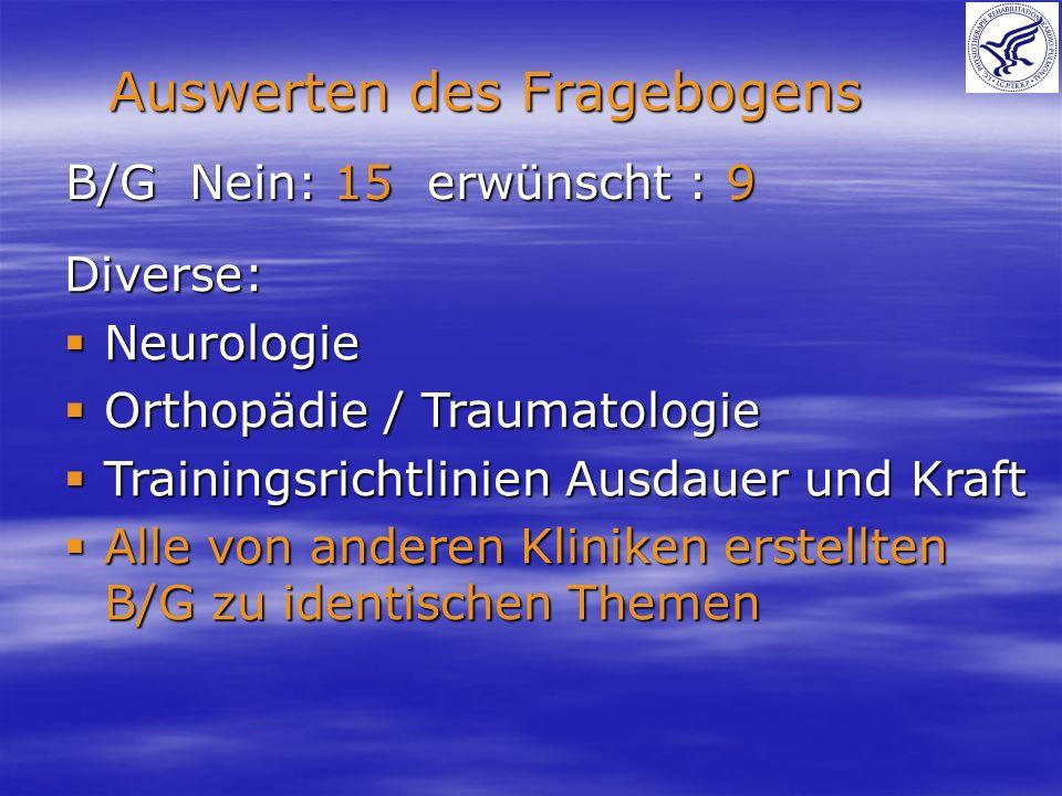 B/G Nein: 15 erwünscht : 9 Auswerten des Fragebogens Diverse: Neurologie Neurologie Orthopädie / Traumatologie Orthopädie / Traumatologie Trainingsric