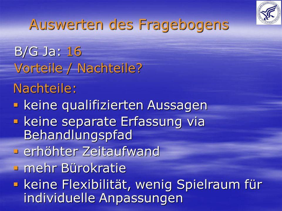 Auswerten des Fragebogens B/G Ja: 16 Vorteile / Nachteile? Nachteile: keine qualifizierten Aussagen keine qualifizierten Aussagen keine separate Erfas