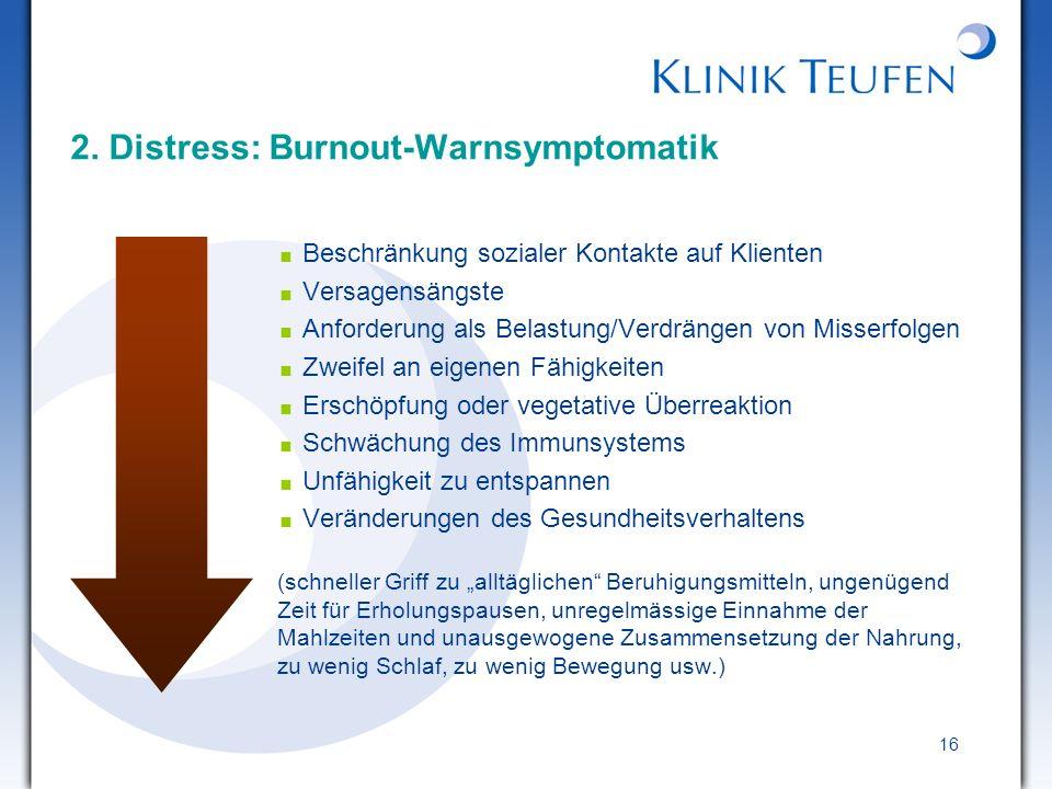 16 2. Distress: Burnout-Warnsymptomatik Beschränkung sozialer Kontakte auf Klienten Versagensängste Anforderung als Belastung/Verdrängen von Misserfol